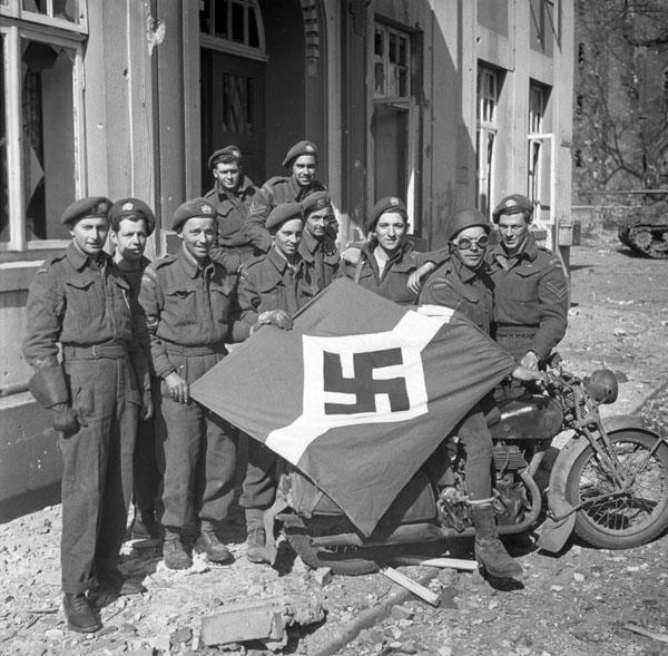 Photo of Captured Nazi Flag