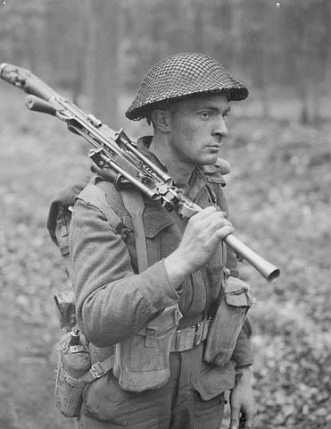 Photo of Shouldering the Bren Gun