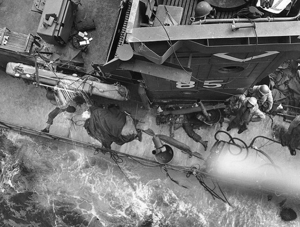 Photo of Sinking Ship off Omaha Beach