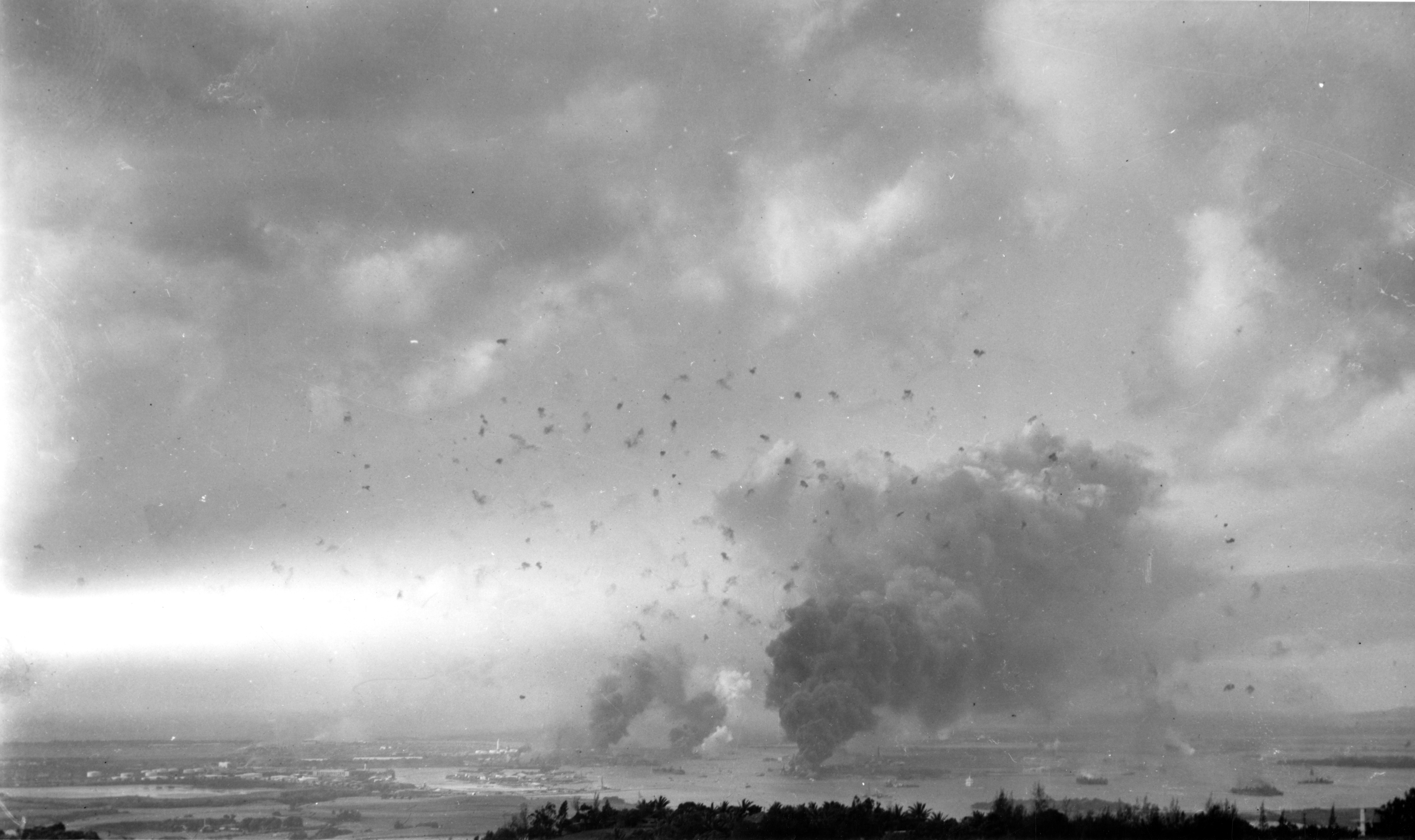 Photo of Anti-aircraft shell bursts blot the sky