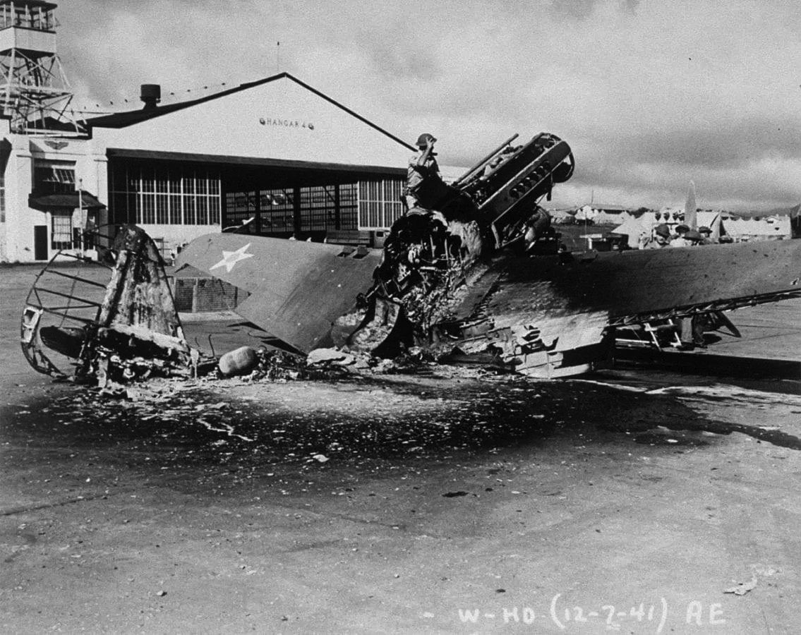 Photo of Burned out P-40