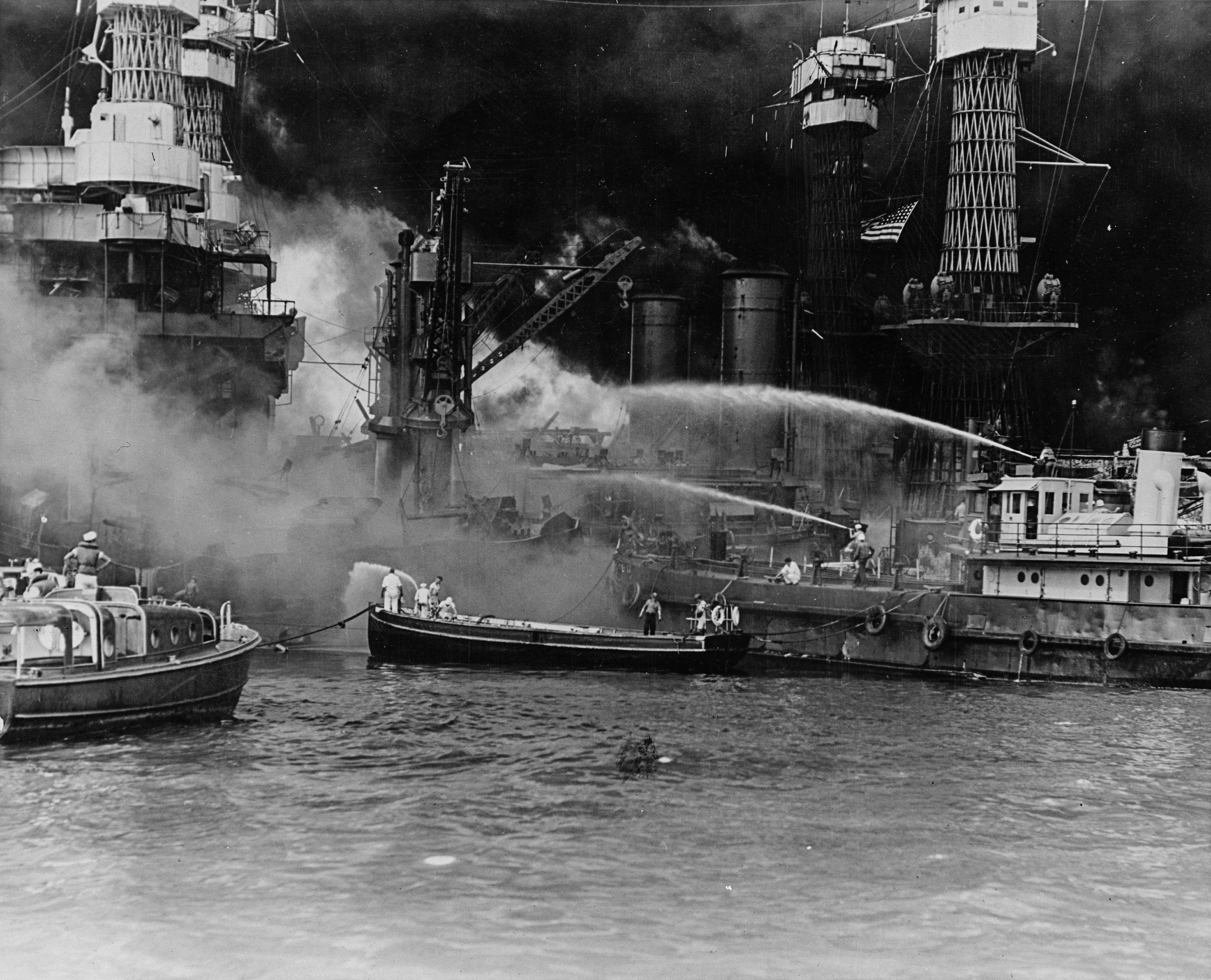 Photo of Fighting fires on USS West Virginia