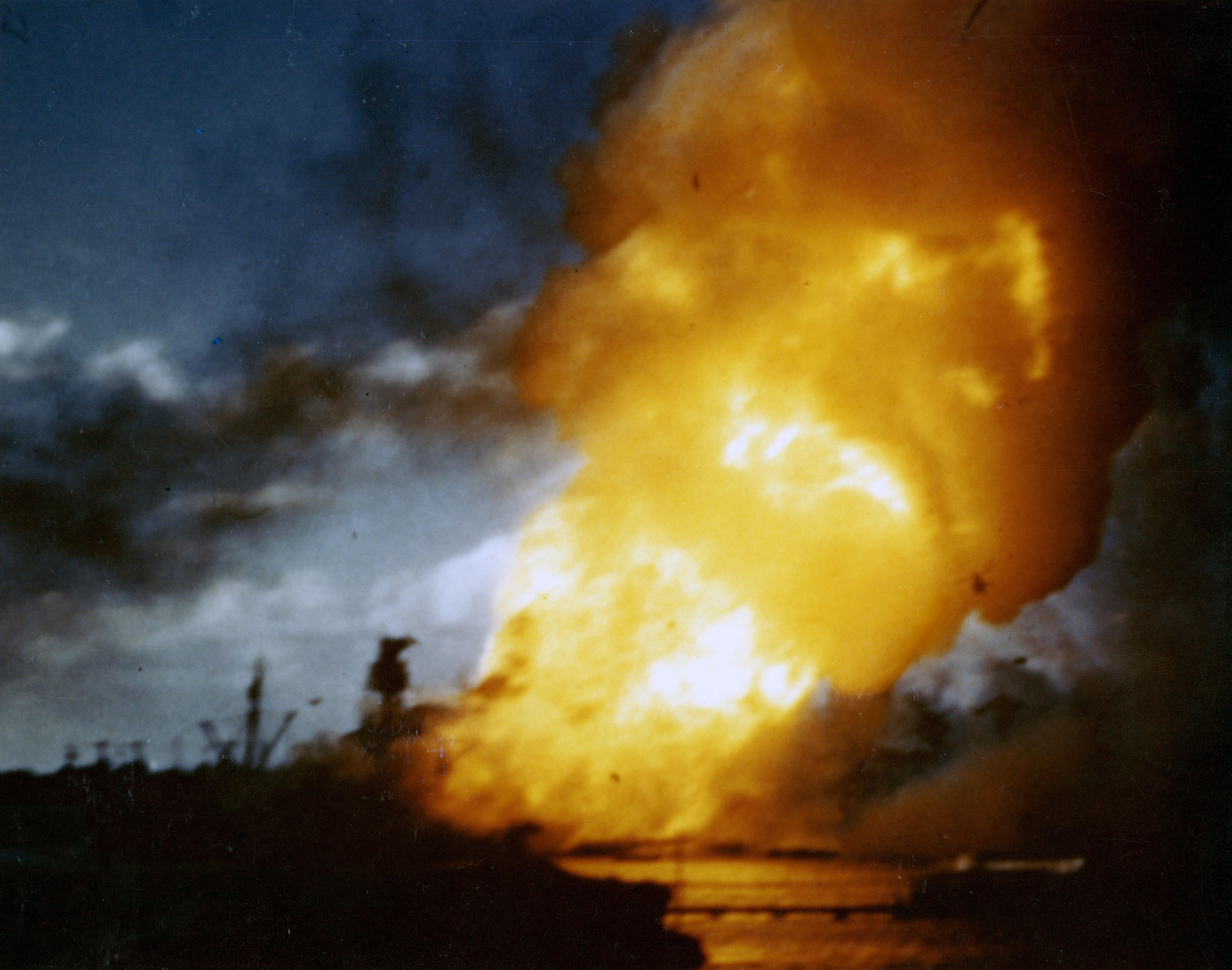 Photo of USS Arizona ablaze