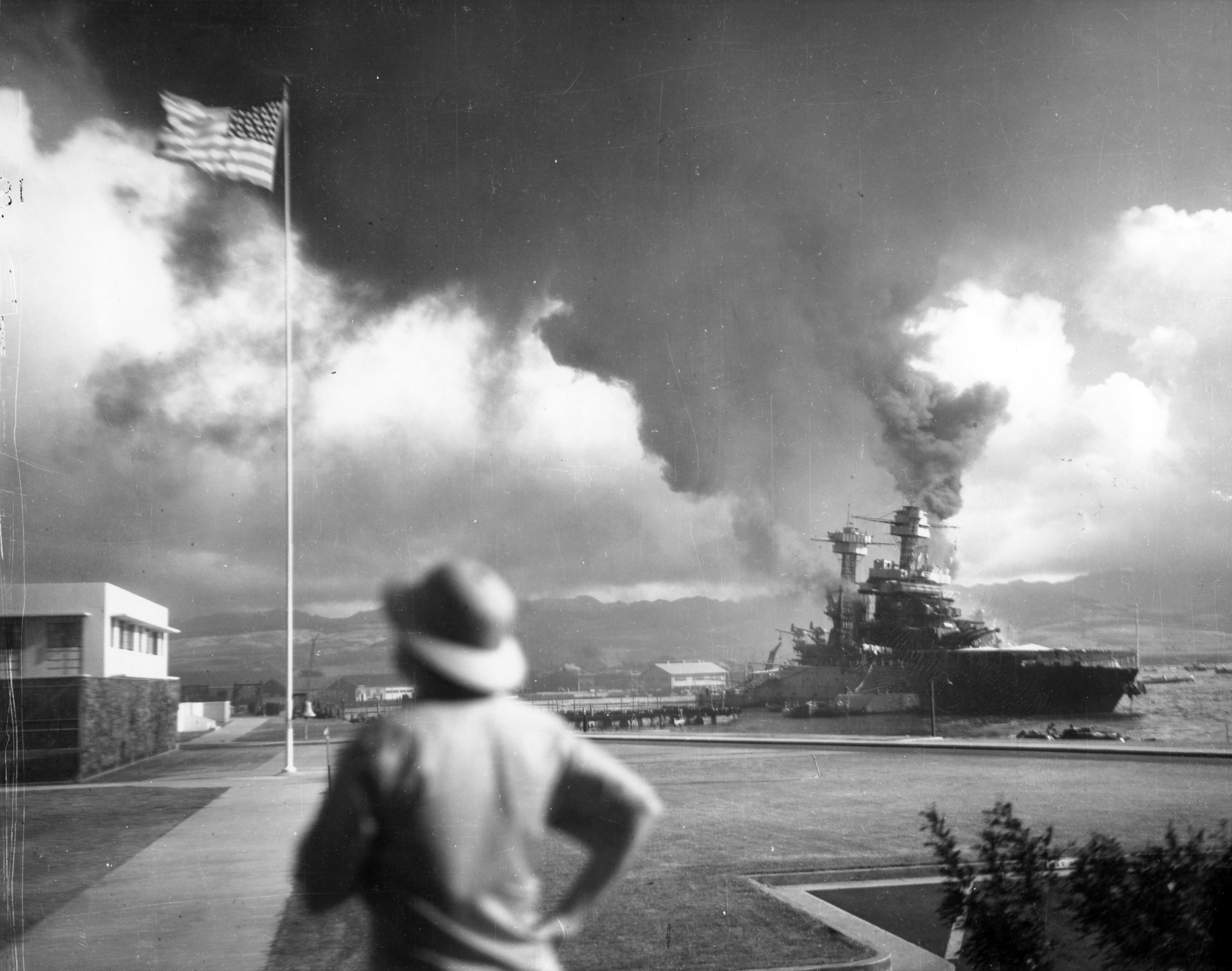 Photo of USS California hit by torpedoes