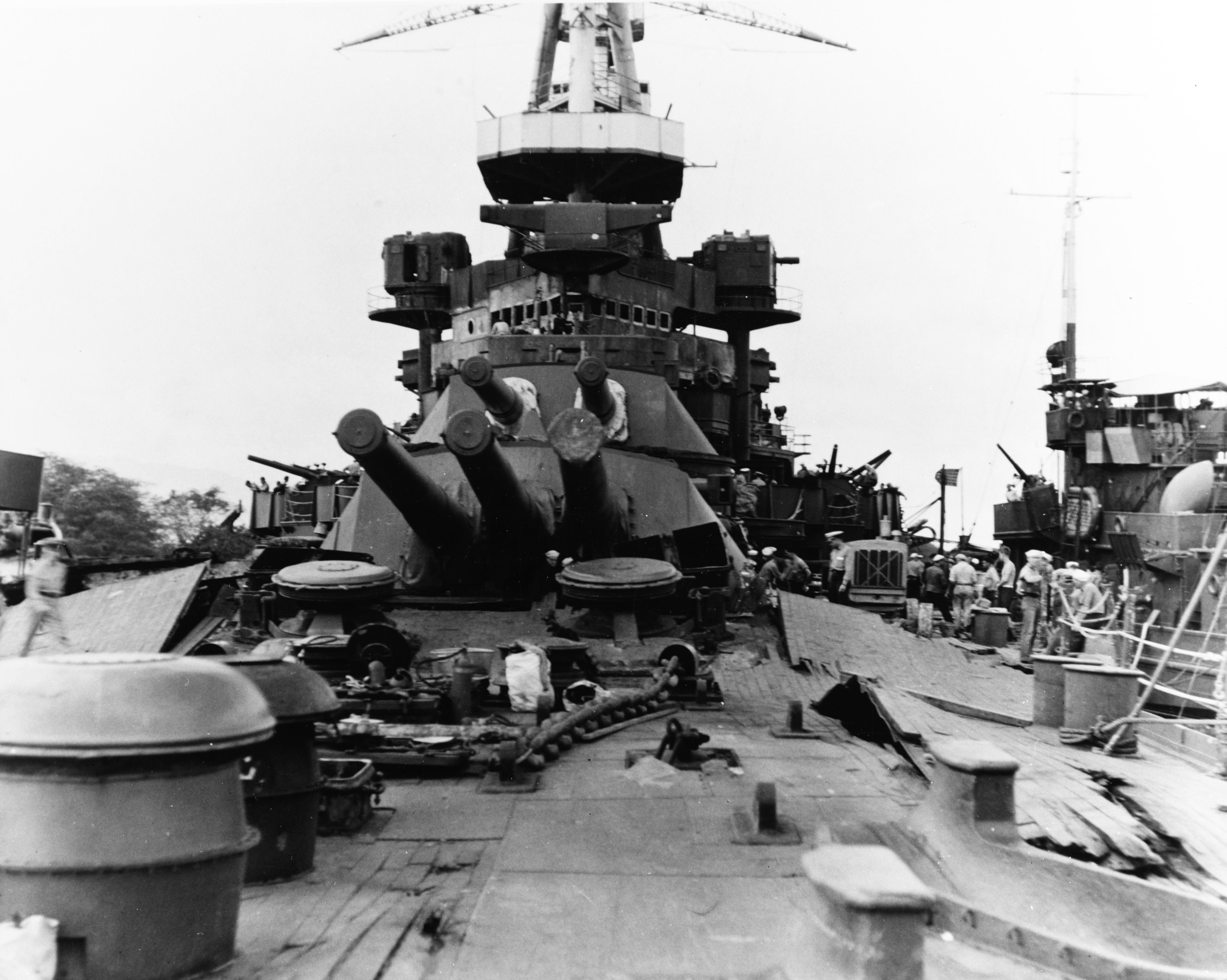 Photo of USS Nevada's deck in ruins