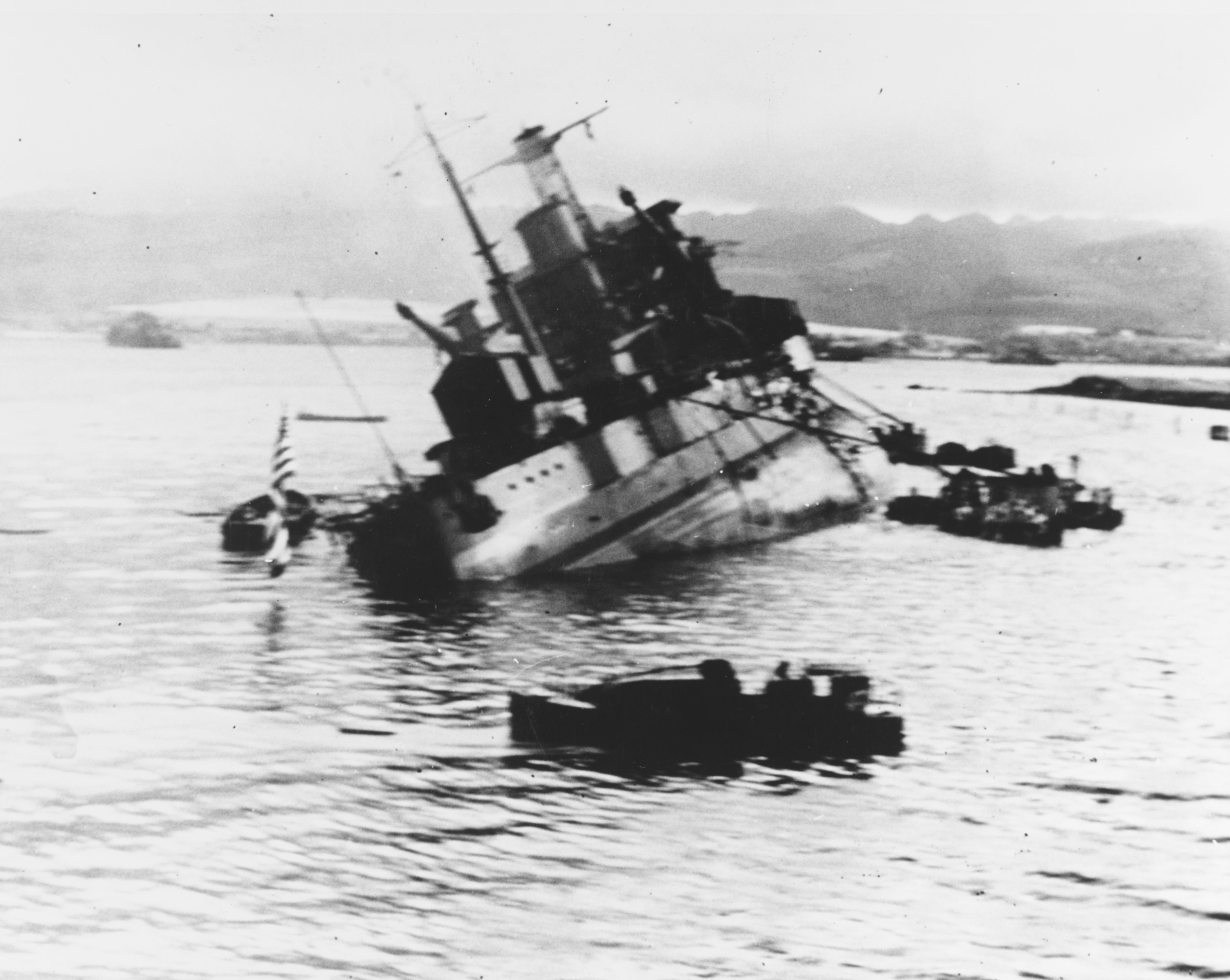 Photo of USS Utah capsizing