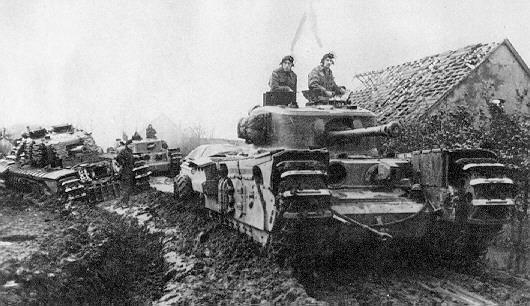 Photo of Brittish Churchill Tanks in the Mud
