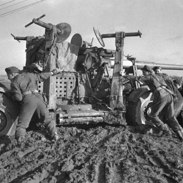 Anti-aircraft gun stuck in the mud