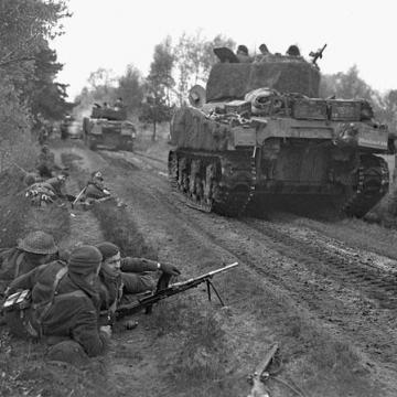Sherman Tanks on the Move