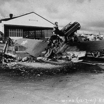 Burned out P-40
