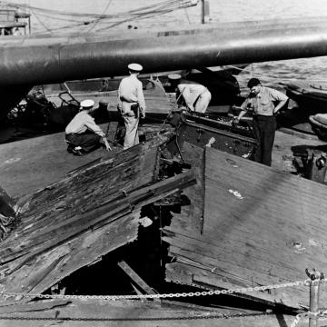 Deck damage on USS Nevada