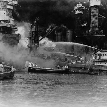 Fighting fires on USS West Virginia