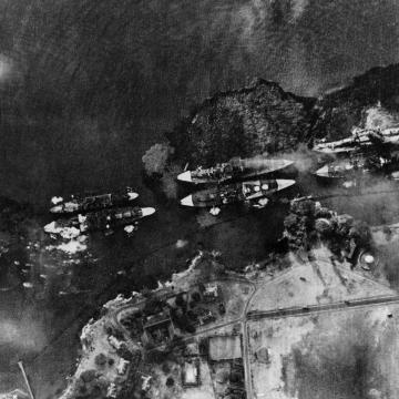 Oil pours from Battleship Row