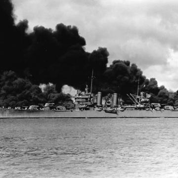 Steaming past battleship row
