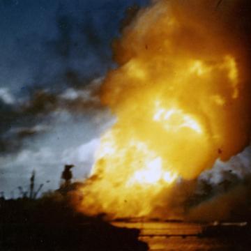 USS Arizona ablaze