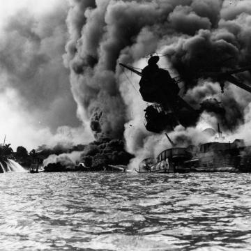 USS Arizona burning furiously