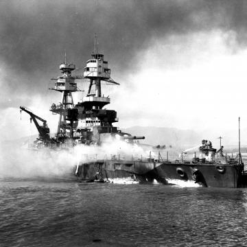 USS Nevada beached in the sand