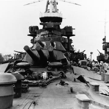 USS Nevada's deck in ruins
