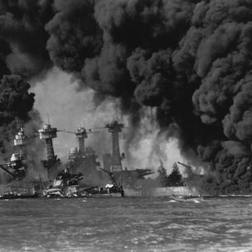 USS West Virginia burning strong